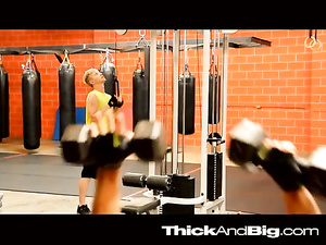 Sissy teen blond twink is getting fucked at the gym