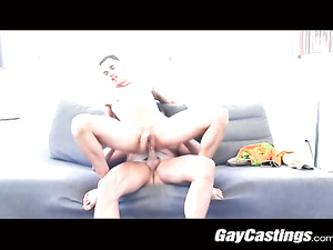 Beauty young brunet twink comes to porn casting and gets fucked in the ass