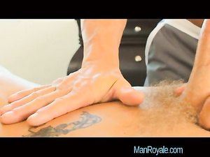 Charming hot blonde twink is getting hotly fucked at massage