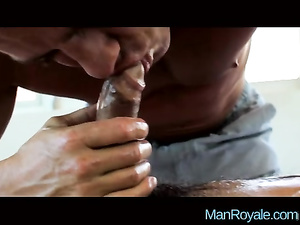Rocky strong masseur hotly lubes gay dude with oil and fucks him