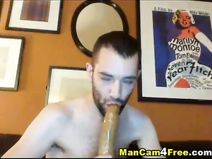 Freaky twink is fucking ass with dildo and then sucking it