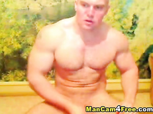 European twink with huge muscles is pleasuring dick masturbation