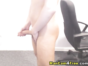 Horny dude gets nude and films himself masturbating dick