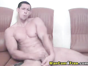 Horny gay is fucking ass with dildo and passionately moaning