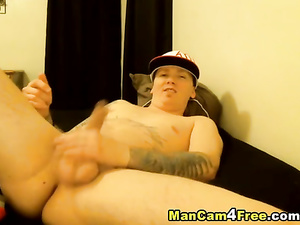 Plump sexy twink is happy to masturbate his dick and stroke asshole