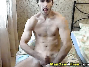 Skinny twink with tight muscled skinny body enjoys hot masturbation