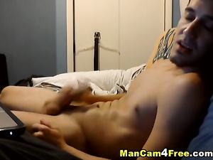 Handsome twink pleasantly masturbates cock