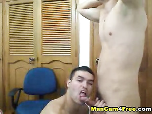 Brunet hunk is pleasing his boyfriend with tight blowjob