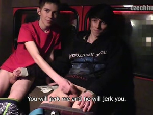 Handsome young friends got seduced for gay action