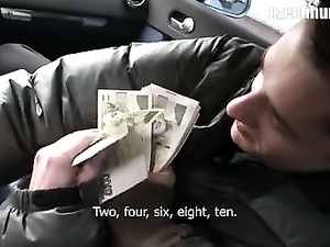 Twink picks up handsome guy and pays him for blowjob