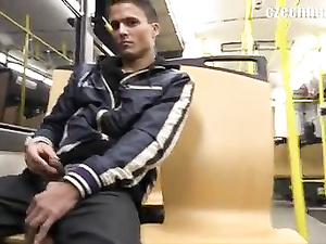 Naughty twink seduces handsome guy in the bus with money